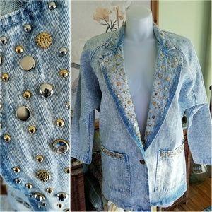 80's Vintage Acid Wash Denim Jacket w/ Studs